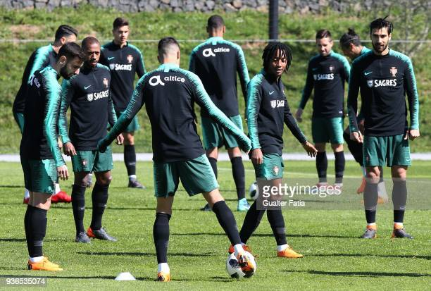 Portugal Players in action during Portugal National Team Training session before the friendly matches against Egypt and the Netherlands at FPF Cidade...
