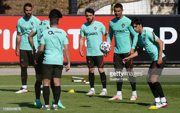 Portugal players in action during the Portugal Training Session at Cidade do Futebol FPF on June 8, 2021 in Oeiras, Portugal.