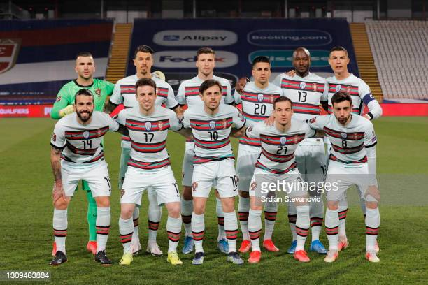 Portugal players line up for a team group during the FIFA World Cup 2022 Qatar qualifying match between Serbia and Portugal at FK Crvena Zvezda...