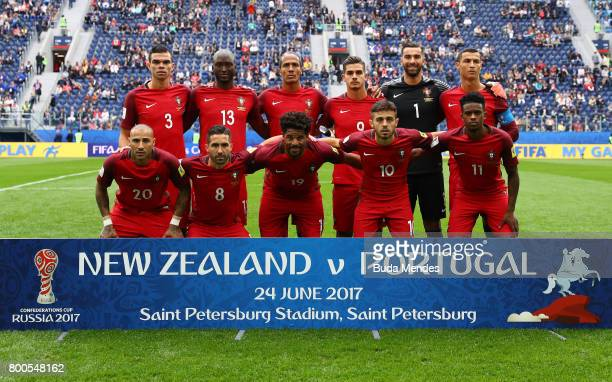 Portugal players line up for the team photos prior to the FIFA Confederations Cup Russia 2017 Group A match between New Zealand and Portugal at Saint...