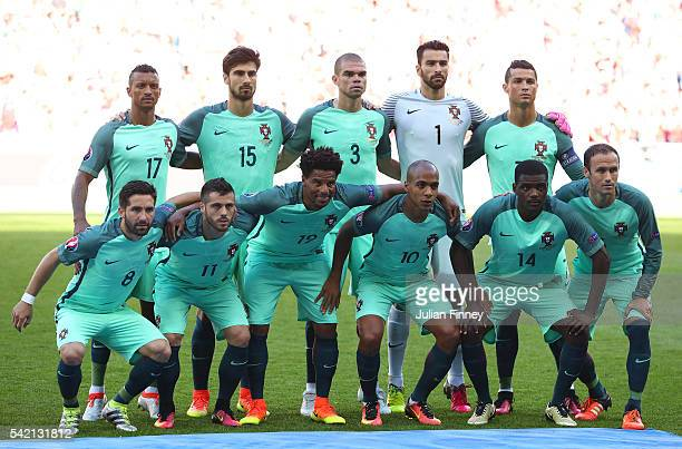 Portugal players line up for the team photos prior to the UEFA EURO 2016 Group F match between Hungary and Portugal at Stade des Lumieres on June 22...