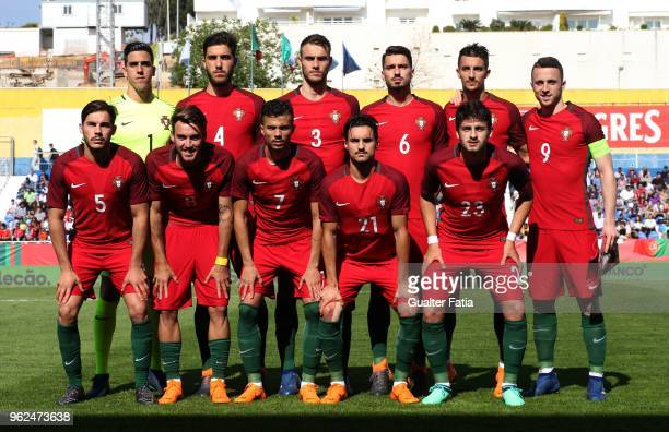 Portugal players pose for a team photo before the start of the U21 International Friendly match between Portugal and Italy at Estadio Antonio Coimbra...