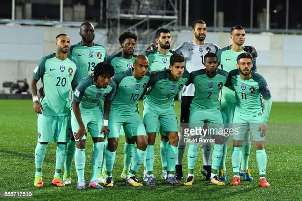 Portugal players pose for a team picture during the FIFA 2018 World Cup Qualifier between Andorra and Portugal at the Estadi Nacional on October 7...