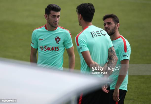 Portugal players talk before the start of the Portugal's National Team Training session before the 2017 FIFA Confederations Cup matches at FPF Cidade...