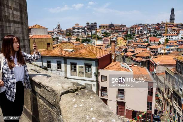 Portugal Porto Baixa residential apartment buildings and city view