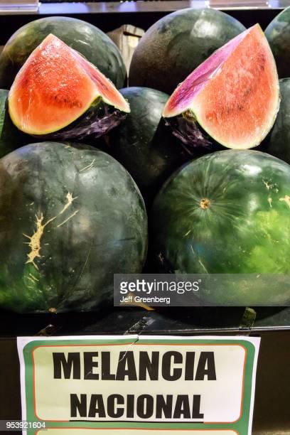 Portugal, Porto, Mercado do Bom Sucesso, local water melon for sale.