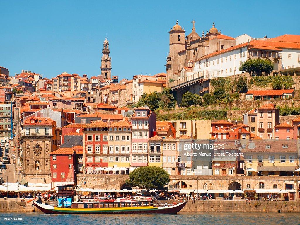 Portugal, Porto, Ribeira do Douro, Cruise and Cathedral : Stock Photo