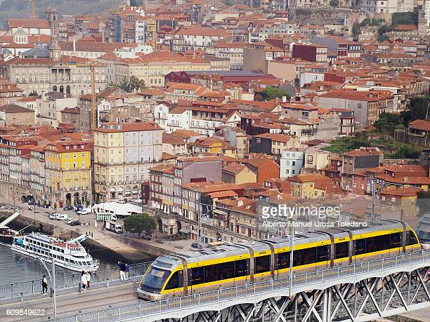 Portugal, Porto, Tram at Luiz I bridge