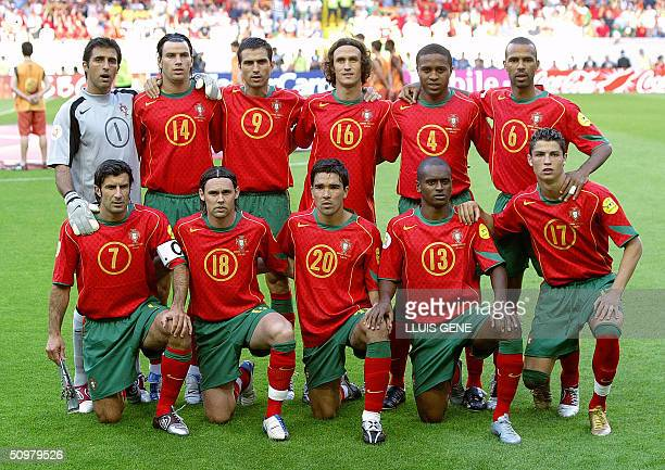 Portugal national football team members pose 20 June 2004 at Jose Alvalade Stadium in Lisbon prior to their Euro 2004 group A football match against...