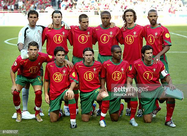 Portugal national football team players pose, 04 July 2004 at the Luz stadium in Lisbon, prior to the Euro 2004 final match between Portugal and...