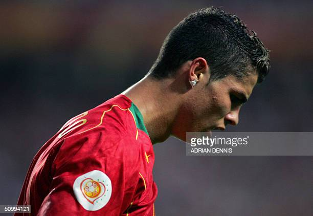 Portugal's forward Cristiano Ronaldo enters the field before the prolongations 24 June 2004 during their European Nations football championships...