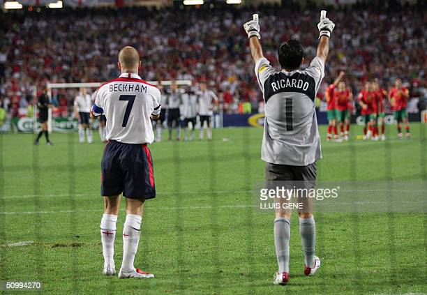 Portugal's goalkeeper Ricardo celebrates after England captain David Beckham missed his penalty 24 June 2004 during their European Nations...