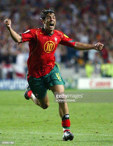 Portugal's midfielder Rui Costa celebrates after scoring during the prolongations 24 June 2004 during their European Nations football championships...