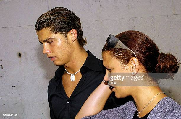 Portuguese international and Manchester United footballer Cristiano Ronaldo and his sister Elma arriving at the funeral of their father at the St...