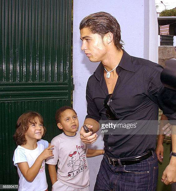 Portuguese international and Manchester United footballer Cristiano Ronaldo arrives for the funeral of his father at the St Antonio cemetery in...