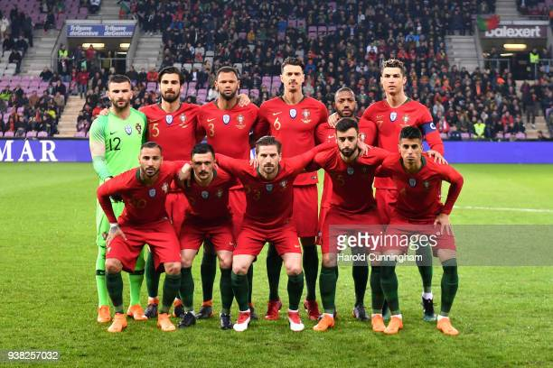 Portugal pose for a team photo ahead of the International Friendly match between Portugal v Netherlands at Stade de Geneve on March 26 2018 in Geneva...