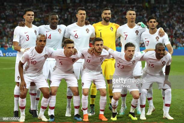 Portugal pose for a team photo prior to the 2018 FIFA World Cup Russia Round of 16 match between Uruguay and Portugal at Fisht Stadium on June 30...