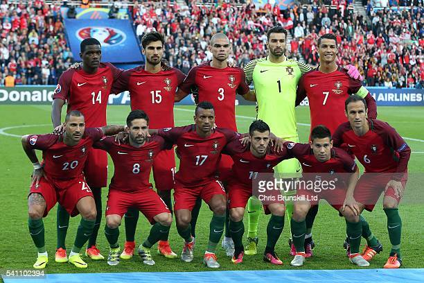Portugal pose for a team photograph ahead of the UEFA Euro 2016 Group F match between the Portugal and Austria at Parc des Princes on June 18 2016 in...