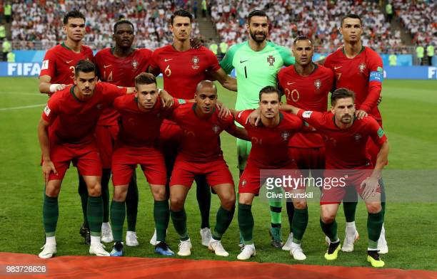 Portugal pose prior to the 2018 FIFA World Cup Russia group B match between Iran and Portugal at Mordovia Arena on June 25 2018 in Saransk Russia