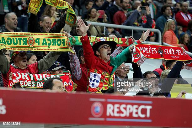 Portugal supporters during the Portugal v Latvia FIFA 2018 World Cup Qualifier match at Estadio do Algarve on November 13 2016 in Faro Portugal