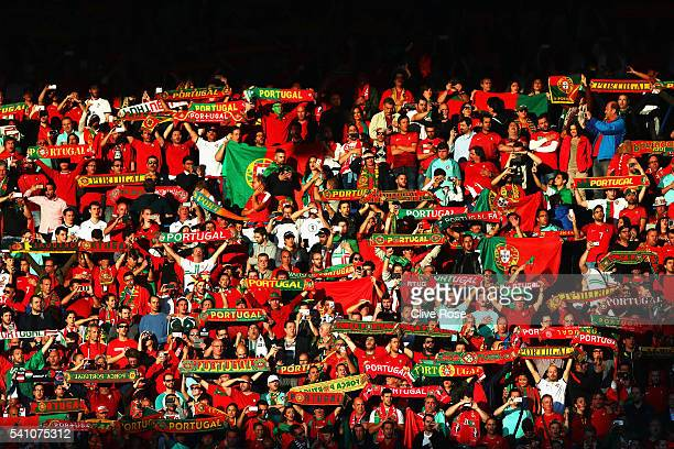 Portugal supporters look on during the UEFA EURO 2016 Group F match between Portugal and Austria at Parc des Princes on June 18, 2016 in Paris,...