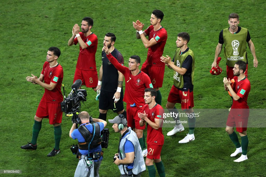 Portugal team applaud fans after the 2018 FIFA World Cup Russia group B match between Portugal and Spain at Fisht Stadium on June 15, 2018 in Sochi, Russia.