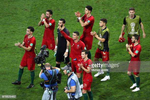 Portugal team applaud fans after the 2018 FIFA World Cup Russia group B match between Portugal and Spain at Fisht Stadium on June 15, 2018 in Sochi,...
