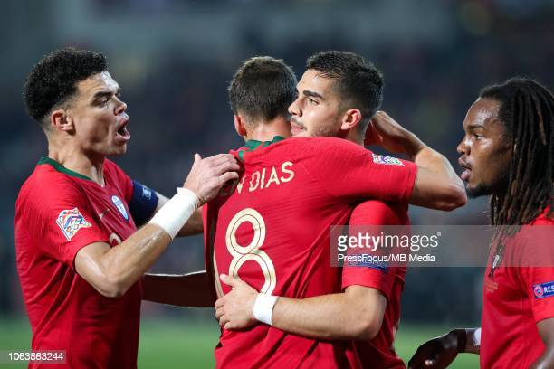 Portugal team celebrate goal scored by Andre Silva during the UEFA Nations League A group three match between Portugal and Poland at on November 20...