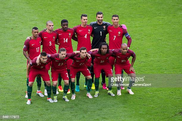 Portugal team line up before kick off during the UEFA Euro 2016 Final match between Portugal and France at Stade de Lyon on July 10 in Paris France