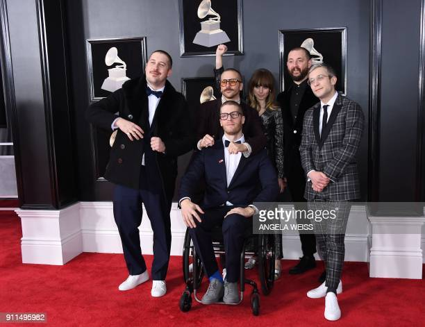 Portugal The Man arrives for the 60th Grammy Awards on January 28 in New York / AFP PHOTO / ANGELA WEISS