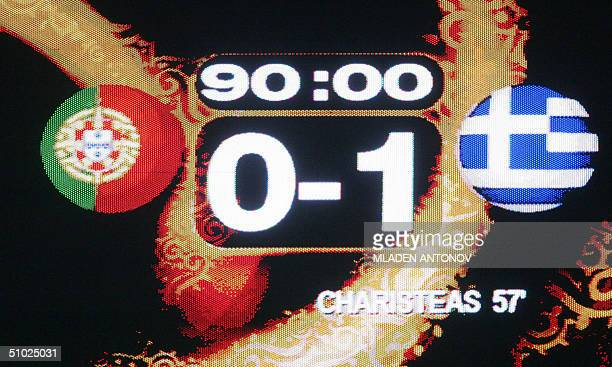 The score is displayed on a giant board 04 july 2004 at the Stadio Da Luz in Lisbon after the Euro 2004 final match between Portugal and Greece at...