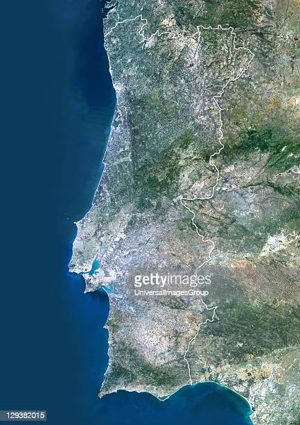 Portugal True colour satellite image of Portuga with border North is at top Part of Spain is also seen Lisbon the capital of Portugal lies on the...