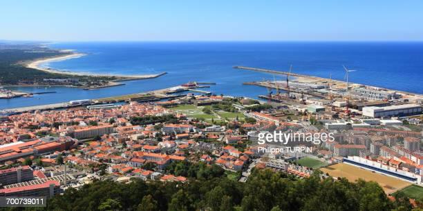 Portugal, Viana do Castelo. Panoramic view of the city and the port. La Lima estuary