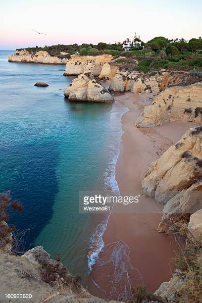 portugal, view of cova redonda beach - algarve imagens e fotografias de stock