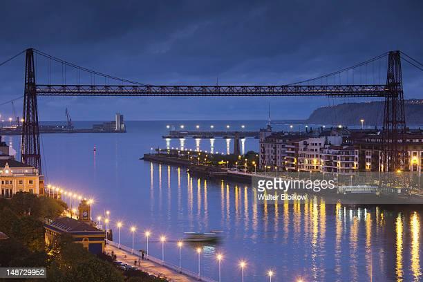 Portugalete-Getxo, Puente Colgante, hanging bridge at dusk.