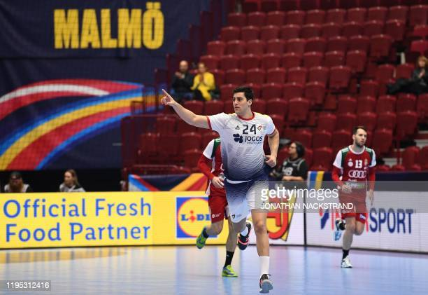 Portugal's Alexandre Cavalcanti celebrate scoring during the Men's European Handball Championship main round day 5 Group II match Portugal v Hungary...