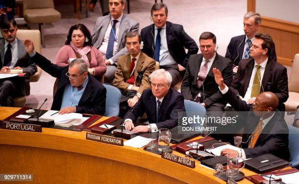 Portugal's Ambassador to the UN Jose Filipe Moraes Cabral Russia's Ambassador to the United Nations Vitaly Churkin and South Africa's Ambassador to...