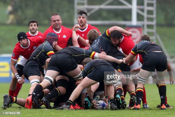 Portugal's and Belgiums players compete during the Rugby Europe Championship match between Portugal and Belgium at the University stadium in Lisbon,...