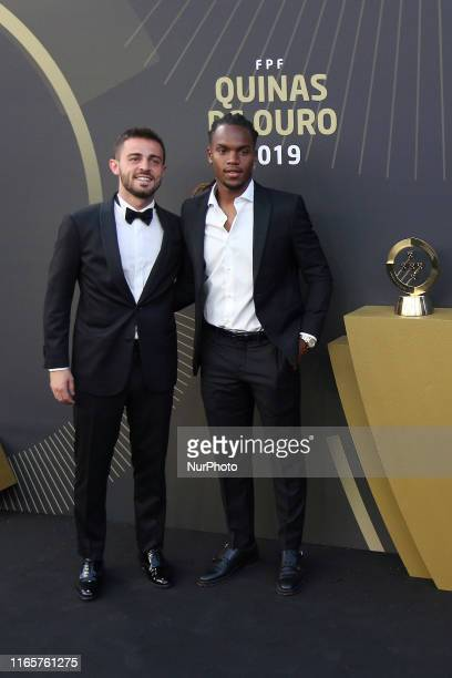 Portugal's and Manchester United forward Bernardo Silva and Portugal's and Lille midfielder Renato Sanches attend the Gala Quinas de Ouro 2019 at the...