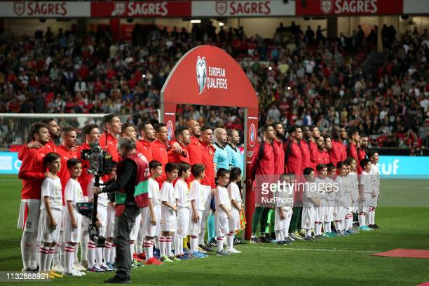 Portugal's and Serbia's starter teams before the UEFA EURO 2020 group B qualifying football match Portugal vs Serbia at the Luz Stadium in Lisbon...