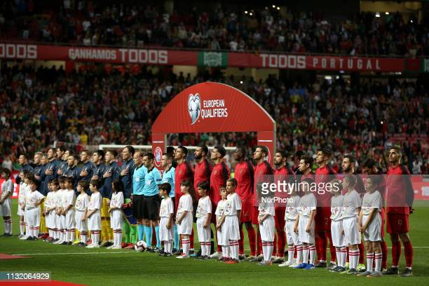Portugal's and Ukraine's line up teams before the UEFA EURO 2020 group B qualifying football match Portugal vs Ukraine at the Luz Stadium in Lisbon...
