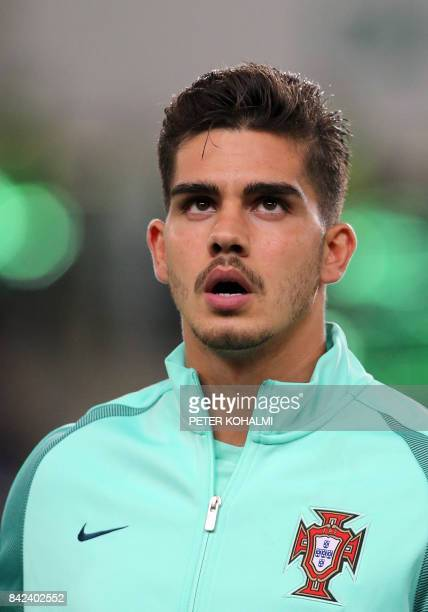 Portugal's André Silva listens to the national anthem prior to the FIFA World Cup 2018 qualification football match between Hungary and Portugal at...