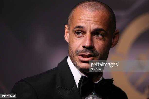 Portugal's beach soccer Madjer poses on arrival at 'Quinas de Ouro' ceremony held at Pavilhao Carlos Lopes in Lisbon on March 19 2018