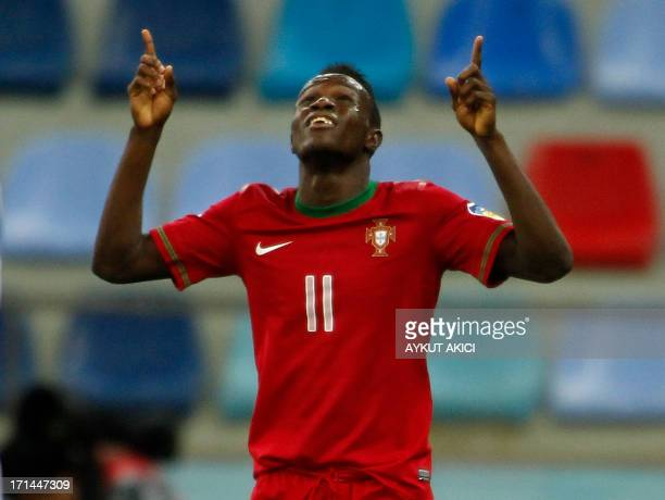 Portugal's Bruma celebrates after scoring during the group stage football match between Portugal and Republic of Korea at the FIFA Under 20 World Cup...