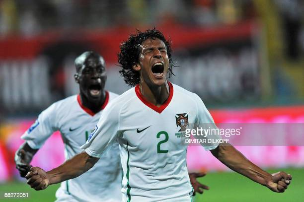 Portugal's Bruno Alves celebrates his goal against Albania during their 2010 World Cup qualifying football match at the Qemal Stafa stadium on June 6...