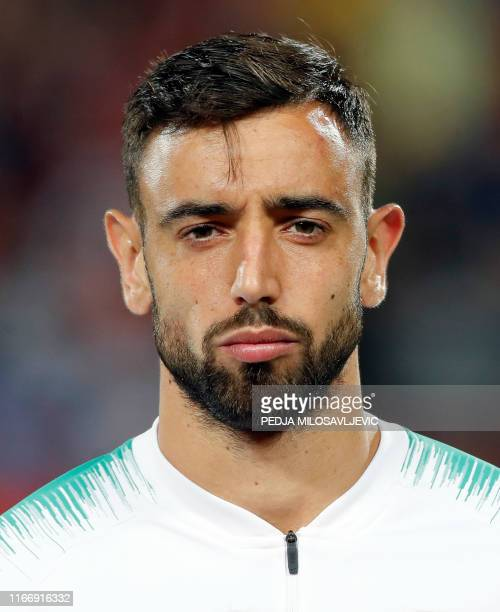 Portugal's Bruno Fernandes poses during the EURO 2020 football qualification match between Serbia and Portugal in Belgrade, Serbia, on September 7,...