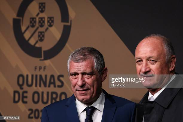Portugal's coach Fernando Santos accompanied by Scolari pose on arrival at 'Quinas de Ouro' ceremony held at Pavilhao Carlos Lopes in Lisbon on March...