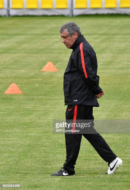 Portugal's coach Fernando Santos attends a training session in Saint Petersburg on June 23 2017 on the eve of the 2017 FIFA Confederations Cup group...