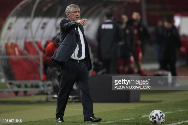 Portugal's coach Fernando Santos gestures during the FIFA World Cup Qatar 2022 qualification Group A football match between Serbia and Portugal at...