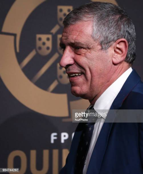 Portugal's coach Fernando Santos poses at 'Quinas de Ouro' ceremony held at Pavilhao Carlos Lopes in Lisbon on March 19 2018